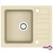 vidaXL Granitni kuhinjski sudoper s jednom kadicom bež