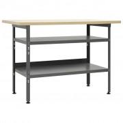 vidaXL Stół roboczy, szary, 120 x 60 x 85 cm, stal