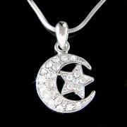 Swarovski Crystal Crescent Moon Star Flag Charm Pendant Necklace