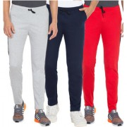 Cliths Men's Cotton Slim Fit Joggers Track Pants Combo Pack Of 3 (Red Light Grey Navy Blue)