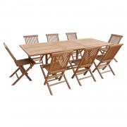 Happy Garden Salon de jardin LOMBOK - table extensible rectangulaire en teck - 8 places