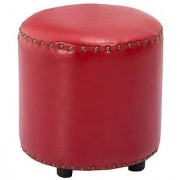 AZAZO Leatherette Round Ottoman in Red Colour