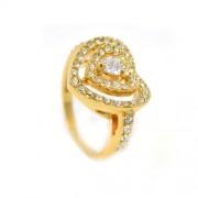 Szíves Swarovski kristályos gyűrű, arany színű-6