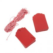 Generic Kraft Tags Present Gift Labels with Christmas Tree Blank Hang Tag Pack of 100 - red