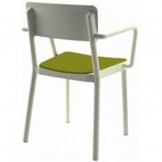Resol - Conjunto de 4 cadeiras com braços brancas com estofo verde nilo LISBOA - RESOL