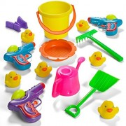 Prextex Summer Fun 6 Piece Children's Kid's Toy Beach/Sandbox Tool Play set, Comes with Watering Bucket, Pail, Hand Tools, Sand Mold, Rubber Duckies and Water Guns