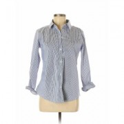 Liz Claiborne Career Long Sleeve Button Down Shirt: Blue Tops - Size Medium