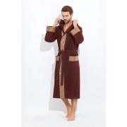 PECHE MONNAIE Махровый мужской халат шоколадного цвета с капюшоном PECHE MONNAIE №914 Коричневый