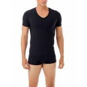 Underworks Shapewear Microfiber Light Compression V Neck Body Short Sleeved T Shirt Black 478101