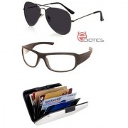 Ediotics Attitude Black Aviator Sunglasses & Transparent Night Driving Sunglasses & Alumi Wallet Combo