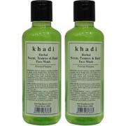 Khadi Herbal Neem Teatree Basil Face Wash - 210ml (Set of 2)