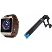 Zemini DZ09 Smart Watch and Selfie Stick for SAMSUNG GALAXY S 5 PLUS(DZ09 Smart Watch With 4G Sim Card Memory Card| Selfie Stick)