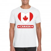 Shoppartners Canadese vlag in hartje shirt wit heren