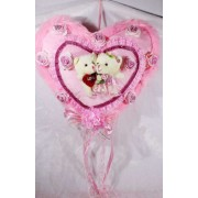 Beautiful Pink Plush Frill Heart with Love Couple Teddy Bears