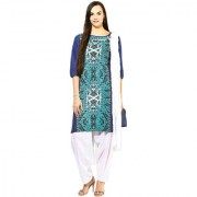 Jaipur Kurtis Pure Cotton Complete Set of Blue Kurta and White Patiala Duptta