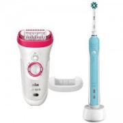 Комплект Епилатор Braun SE9-521 + Електрическа четка за зъби Oral-B PRO 500, Бяла