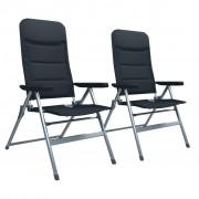 vidaXL Регулируеми градински столове, 2 бр, алуминий, черни
