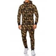 OneRedox Jogging Suit Sport Set Tracksuit Pants & Hoodie Sweater Camo Khaki 47005-1