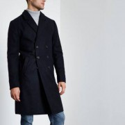 River Island Mens Navy double breasted overcoat