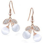 Om Jewells Crystal Jewellery Rose Gold Plated Dangling Cherry Shape Stylish Hoop Earrings for Girls and Women ER1000109