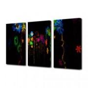Tablou Canvas Premium Abstract Multicolor Flori Luminate Decoratiuni Moderne pentru Casa 3 x 70 x 100 cm