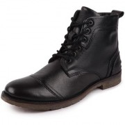 Fausto Men's Black Leather High Ankle Outdoor Boots