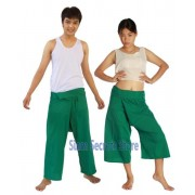 Siam Secrets Green Fisherman Pants Yoga Trousers Capri & Full Length