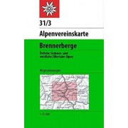 Collectif DAV Alpenvereinskarte 31/3 Brennerberge 1 : 50 000 Wegmarkierungen: stliche Stubaier- und westliche Zillertaler Alpen