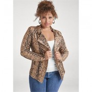 Plus Size Snake Print Jacket Jackets & Coats - Multi/brown