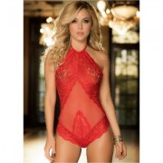 Sheer Lace Halter Teddy Holiday Gift Guide - Red