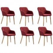 vidaXL Трапезни столове, 6 бр, виненочервен плат и дъбов дървен масив