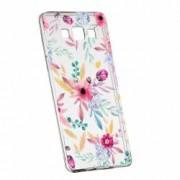 Husa Silicon Transparent Slim Happy Flowers Samsung Galaxy A3