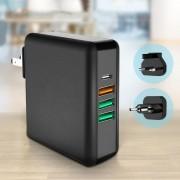 Multi-port Power Adapter 61W Quick Charge USB Wall Charger [with US Plug + EU Plug + UK Plug]