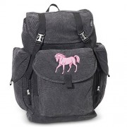 Horse LARGE Backpack Canvas Horses School or Travel Bag