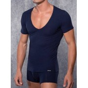 Doreanse Облегающая мужская футболка темно-синего цвета с глубоким вырезом Doreanse City 2820c05