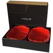 Подаръчен сет от 2 броя правоъгълни керамични форми за печене EMILE HENRY ULTIME - 22 x 14.5 см - цвят червен