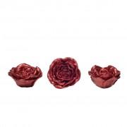 Set Mediu Trei Lumanari Trandafiri Sclipici Rosu