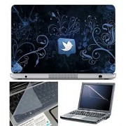 FineArts Laptop Skin Twitter Blue Wallpaper With Screen Guard and Key Protector - Size 15.6 inch