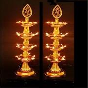 REBUY 4 Layer Electric Diya Deepak Light Lamp LED Lights for Puja Home Temple Decor Diwali Festival Pack of 2