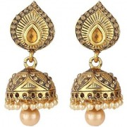 Jewels Gold Traditional Ethnic Gold Plated Alloy Pleasant Hanging Jhumki Jhumka Earring Set For Women Girls