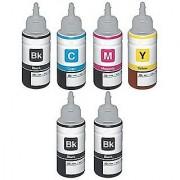 Original Epson Ink set Colors with 2 Black Extra (T6641-B T6642-C T6643-M T6644-Y) 70 Ml