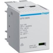 Túlfeszültség levezető betét (SPN802, SPN802(R)-hez)B+C (T1+T2) fokozatú, 255V/25kA (Hager SPN080N)