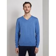 TOM TAILOR Eenvoudige gebreide trui, mid blue melange, L