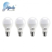 Ujala Led 9W MAX-GLOW Bulb - 100 Lumen/Watt B22 Base (Aluminium) PC Diffuser 2Year Warranty(Pack of 4)