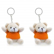 Merkloos 15x stuks sleutelhangers beer met oranje shirt
