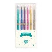 Zestaw 6 długopisów żelowych brokatowe z kolekcji Lovely Paper DJECO DD03755