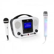KaraBanga Sistema de karaokê com microfone Kara Dazzl Bluetooth branco