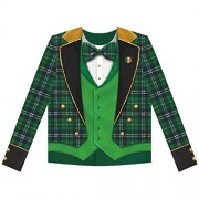 Lucky Irish Green St. Patrick's Day Men's Plaid Tux Long Sleeve Dye Sub Shirt Party Wearables, Fabric, S/M