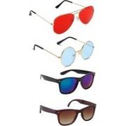 Elligator Aviator, Round, Wayfarer Sunglasses(Red, Blue, Brown)