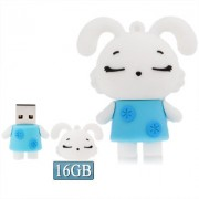 Lovely Rabbite Shape Silicone USB2.0 Flash disk Special for All Kinds of Festival Day Gifts Blue (16GB)